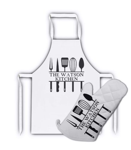 Personalised The Family Kitchen White Adult Apron & Matching Oven Glove